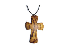 _0045_Dřevěný přívěšek - kříž - zebrano