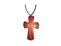 _0048_Dřevěný přívěšek - kříž - padouk