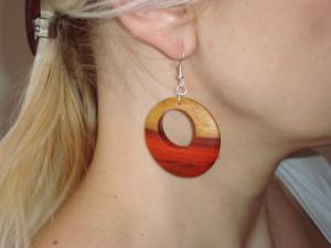 Dřevěné  náušnice-kruh-ukázka